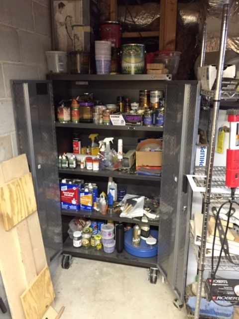 I keep all my finishing supplies in this Gorilla cabinet that I bought at HD on sale. Nice to have everything in one place.