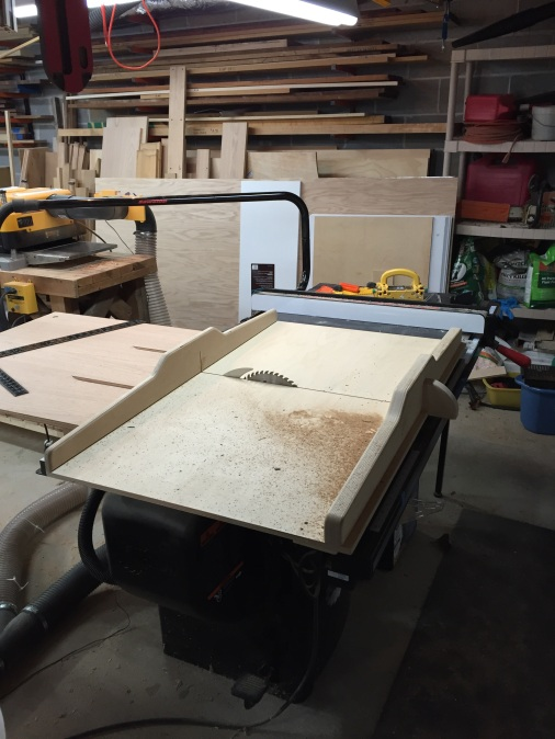 """This is my SawStop. One of the very few tools I have purchased that did not need a bunch of tweaking. It's a 3hp 220v cabinet saw. Upgrades include mobile cart, overhead dust collection, Forrest Woodworker II blade, Freud SD508 8"""" Super Dado set, homemade crosscut sled (shown) and outfeed table, Incra 1000HD miter guage,  and recently purchased Jessem Clear-Cut TS stock guides. It is dead accurate, with about .002-3 toe out on the fence. This is a beast!"""